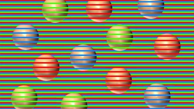 Las esferas que se ven de distinto color.