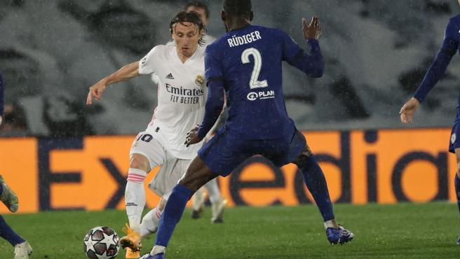 Modric, in the first leg against Chelsea.