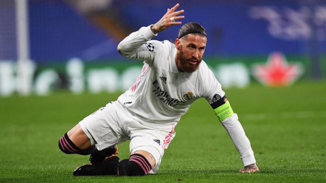 Sergio Ramos, en el partido contra el Chelsea.