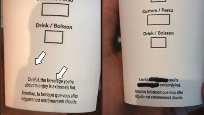 El empleado dijo que la clave estaba en el texto del vaso.