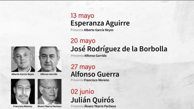 Alfonso Guerra, Esperanza Aguirre y Rodríguez de la Borbolla, en 'A debate' de Tomares