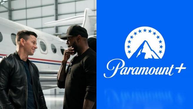 El director Antoine Fuqua con Mark Wahlberg en 'Infinite' y logo de Paramount+