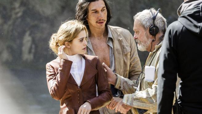 Olga Kurylenko, Adam Driver y Terry Gilliam rodando 'El hombre que mató a Don Quijote'.