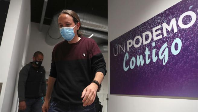 Pablo Iglesias, en la sede de Unidas Podemos, tras conocer los resultados de las elecciones autonómicas en Madrid.