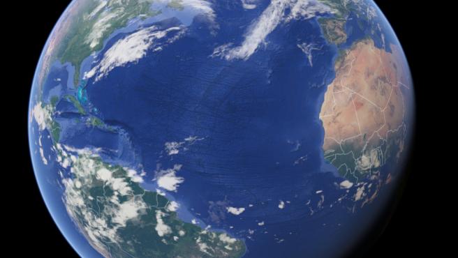 Imagen vía satélite del oceáno Atlántico.