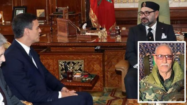 Imagen de Pedro Sánchez charlando con Mohamed VI, con foto insertada de Brahim Ghali.