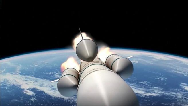 Recreación del cohete chino Larga Marcha 5B sobre el planeta Tierra.