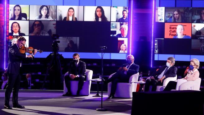 El presidente de Francia, Emmanuel Macron, el primer ministro portugués, Antonio Costa, el presidente del PE, David Sassoli y la presidenta de la Comisión Europea, Ursula von der Leyen, en la Conferencia sobre el Futuro de Europa