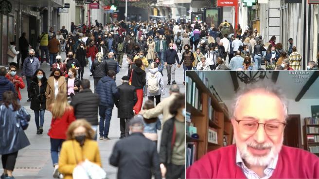 Combo de imágenes de viandantes paseando por el centro de Madrid y el epidemiólogo López Acuña.