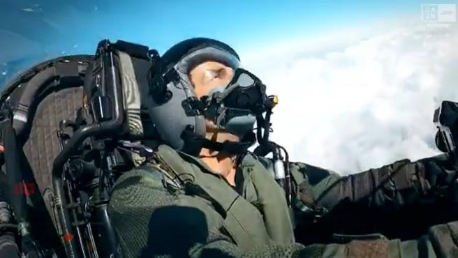 Pedro de la Rosa, en un Eurofighter