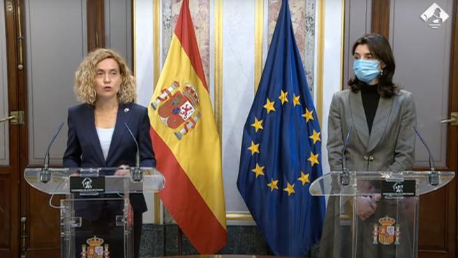 Las presidentas del Congreso y del Senado, Meritxell Batet y Pilar Llop.