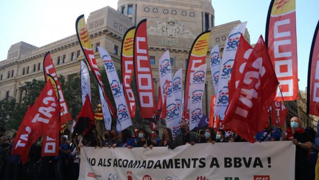 Concentración en Barcelona contra el ERE de BBVA.