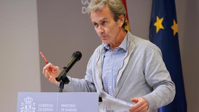 Fernando Simón durante la rueda de prensa de este lunes