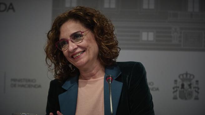 La ministra de Hacienda, María Jesús Montero, este lunes.