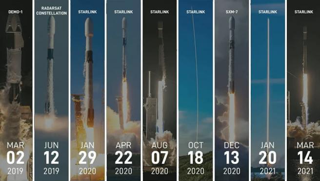El cohete B1051 ha realizado 10 misiones y, entre ellas, destacan las realizadas para la red satelital de Starlink.