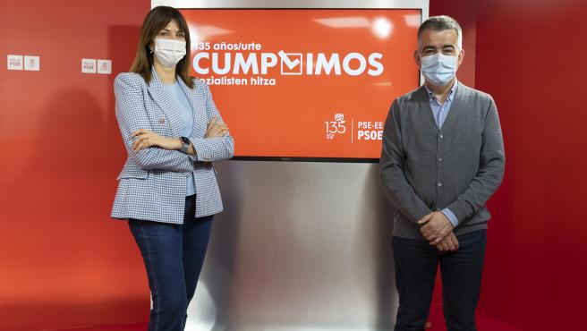 Carmen Calvo, Arancha González Laya, Iratxe García, María Chivite y Adrián Barbón, en los actos por los 135 años del PSE