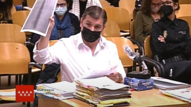 César Román, apodado el 'rey del cachopo', en el juicio este martes.