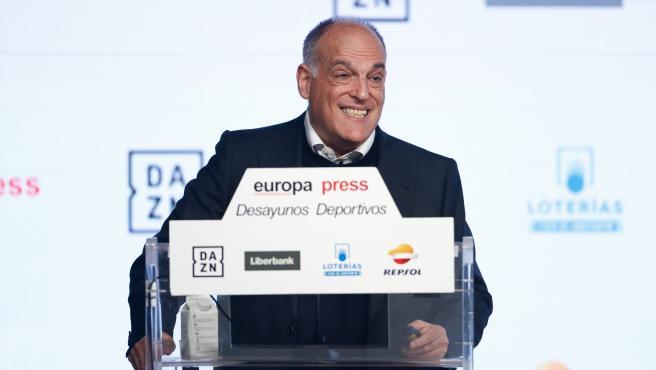 El presidente de LaLiga, Javier Tebas, interviene en un Desayuno Deportivo de Europa Press