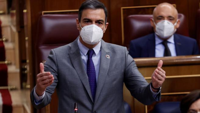 El presidente del Gobierno, Pedro Sánchez, durante su intervención en la sesión de control al Ejecutivo en el Congreso.