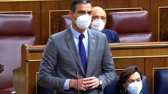El presidente del Gobierno, Pedro Sánchez, interviene en el Congreso.