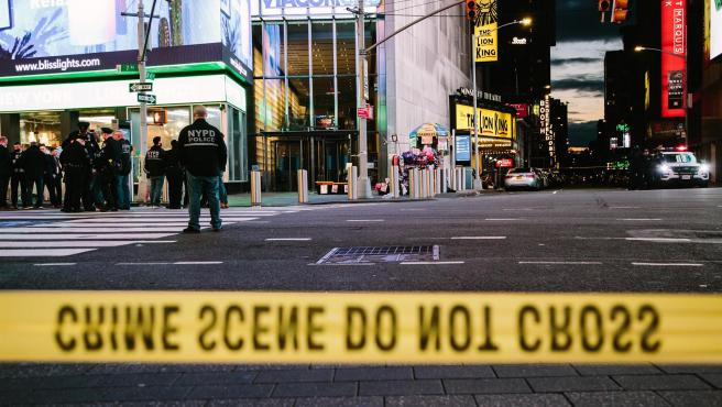 Times Square (Nueva York), desalojada tras el tiroteo del pasado sábado.