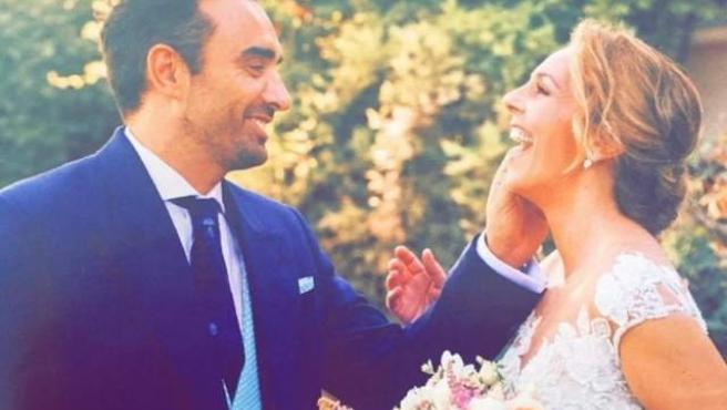 Rocío Carrasco y Fidel Albiac, en su boda.