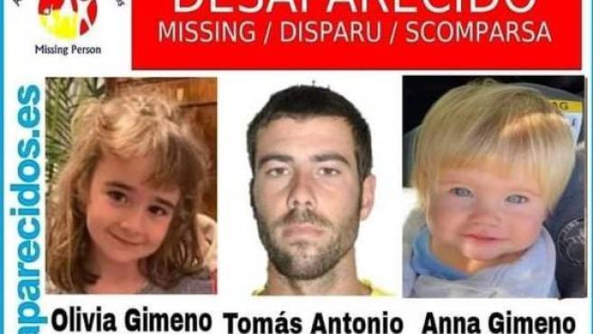 Las niñas desaparecidas en Tenerife y su padre, Tomás Gimeno.