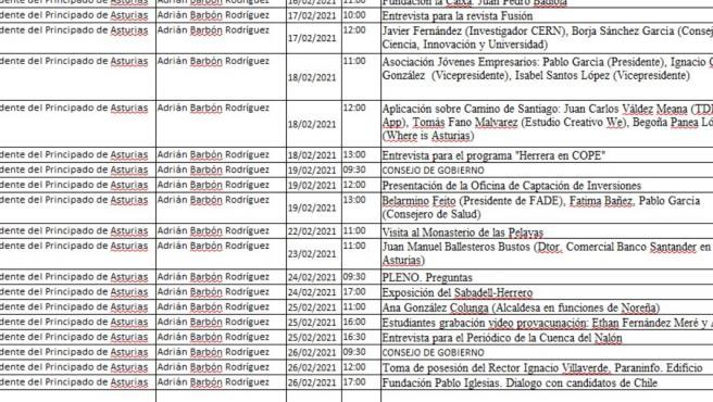Barbón realizó 58 actividades y eventos públicos en enero y febrero, según la agenda publicada por el Gobierno