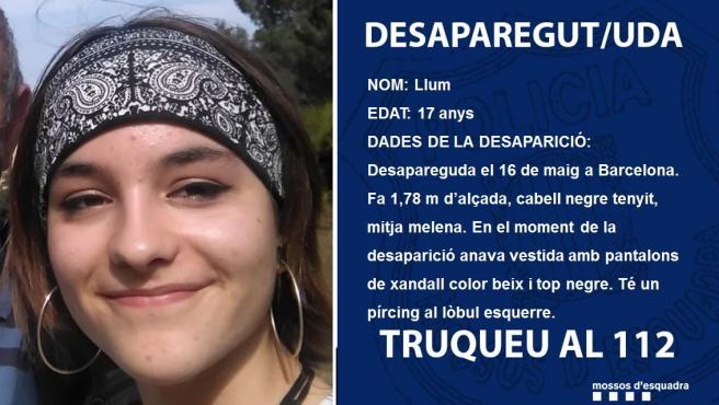 La imagen de la menor desaparecida en Barcelona.