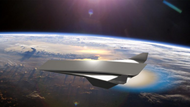 Así se vería un avión supersónico propulsado con un motor de detonación oblicua.