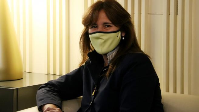 La presidenta del Parlament, Laura Borràs, en el despacho de audiencias de la cámara catalana este miércoles en el marco de la ronda de consultas previo a la investidura.