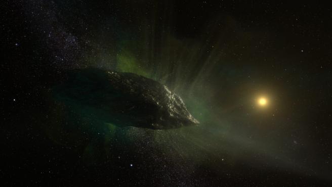 Representación artística del cometa interestelar 2l / Borisov mientras viaja por el sistema solar.