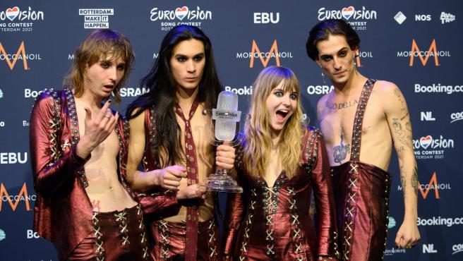 El grupo Maneskin tras ganar la final de Eurovisión 2021.