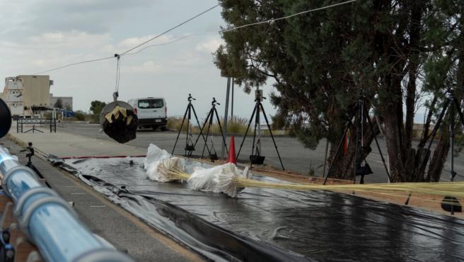 Imagen de la prueba de extracción del paracaídas.