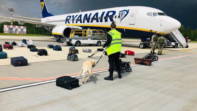 Policías inspeccionan maletas junto al avión de Ryanair en el que viajaba el periodista Roman Protasevich, en el aeropuerto de Minsk, Bielorrusia, donde aterrizó el aparato forzado por las autoridades bielorrusas.