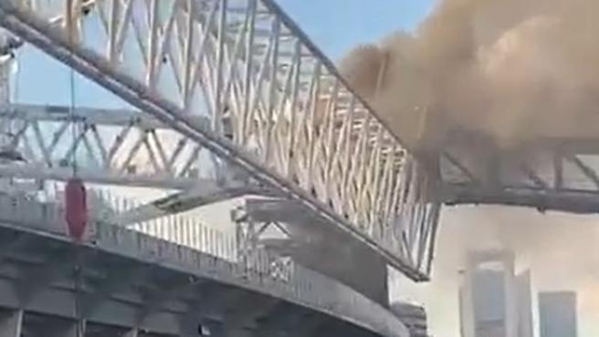 Fire at the Santiago Bernabéu