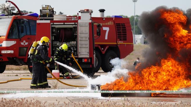 La base aérea de Matacán (Salamanca) escenifica un simulacro de accidente aéreo