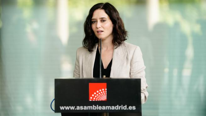 La presidenta de la Comunidad de Madrid, Isabel Díaz Ayuso, en la Asamblea de Madrid.