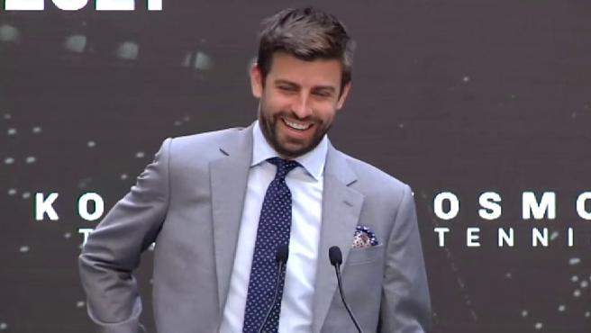 The mayor of Madrid, José Luis Martínez Almeida and Gerard Piqué, FC Barcelona player, had a fun exchange this Thursday during the presentation in Madrid of the next edition of the Davis Cup, which will be played at the end of November and the beginning of January and which will have the capital of Spain as its headquarters together with Innsbruck and Turin.