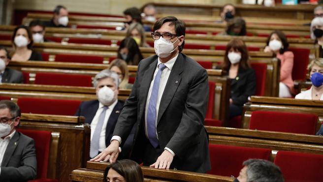 El líder del PSC, Salvador Illa, en el Parlament de Cataluña