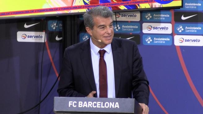 Joan Laporta, during a press conference
