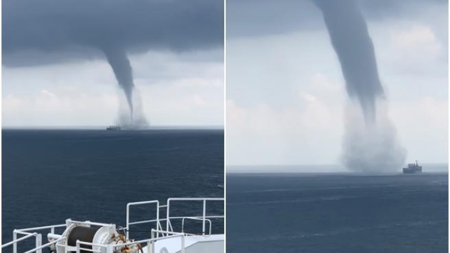 El barco logró salir del tornado.