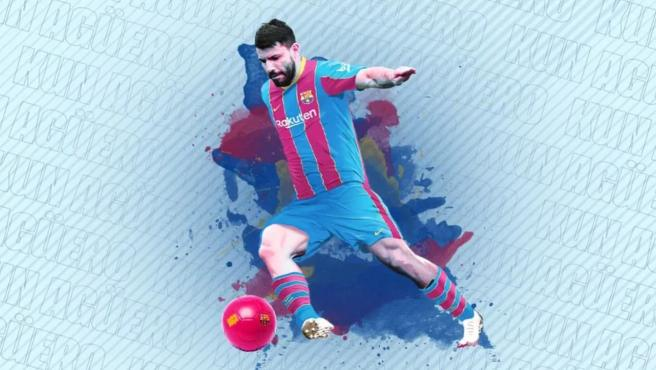 Kun Agüero, con la camiseta del Barcelona