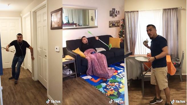 Algunas imágenes de lo que Tina Cervantes le arroja a su marido en la cuenta Mamasleet, de TikTok.