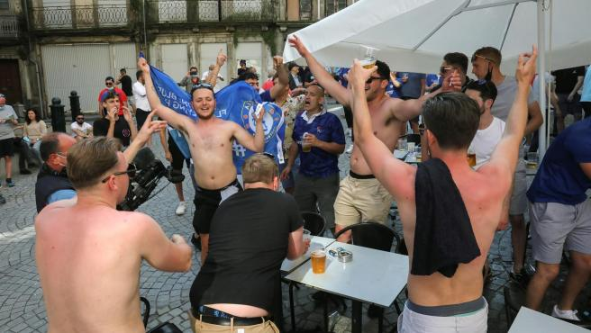Chelasea fans celebrate the Champions League title in the streets of Porto.
