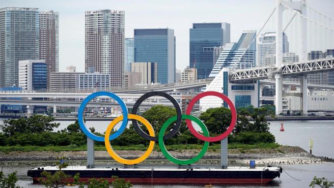 Los anillos olímpicos, en Tokio.
