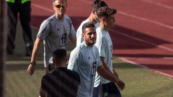 Luis Enrique, Koke and Marcos Llorente, in a training session for the national team