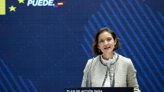 La ministra d'Indústria, Comerç i Turisme, Reyes Maroto, en una imatge d'arxiu durant la presentació del Pla d'Acció per a la Internacionalització de l'Economia Espanyola 2021-2022