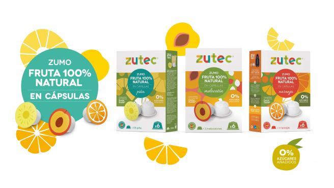 Imagen de las cajas y de zumo en cápsulas Zutec.