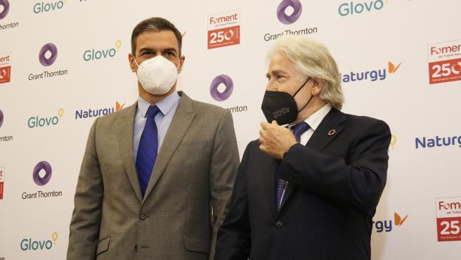 El presidente del Gobierno, Pedro Sánchez, este lunes durante un acto en la patronal Foment del Treball, en Barcelona.